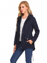 Navy blue Women Casual Hooded Long Sleeve Solid Waist Drawstring Split Hem Windbreaker Outwear
