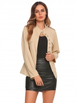 Khaki Women Casual O-Neck Long Sleeve Solid Button Jacket Coat