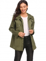 Army green Women's Long Sleeve Zip Up Solid Casual Loose Hooded Trench Coat with Pocket