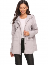 Gray Women's Long Sleeve Zip Up Solid Casual Loose Hooded Trench Coat with Pocket