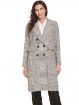 Coffee Women Warm Lapel Double-breasted Classic Plaid Long Wool Blend Trench Coat