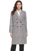 Gray Women Warm Lapel Double-breasted Classic Plaid Long Wool Blend Trench Coat