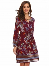 Wine red Women O-Neck Long Sleeve Drawstring Waist Print Bohemian Casual Mini Dress