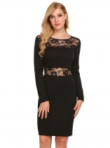 Black Women Long Sleeve Floral Lace Patchwork Cocktail Bodycon Dress