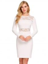 White Women Long Sleeve Floral Lace Patchwork Cocktail Bodycon Dress