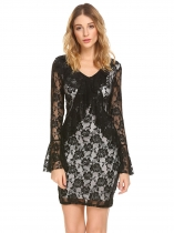 Black Women V Neck Long Flare Sleeve Sheer Floral Lace Ruffled Bodycon Party Dress