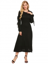 Mulheres Mulheres Tie Sleeve Side Split Pullover Midi Sweater Dress