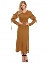 Coffee Women Tie Sleeve Side Split Pullover Midi Sweater Dress