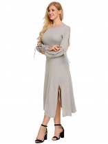 Světle šedá Women Tie Sleeve Side Split Pullover Midi Sweater Dress
