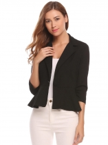 Black Women Notch Lapel 3/4 Sleeve One Button Casual Blazer