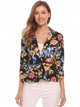 Floral Women Notch Lapel 3/4 Sleeve One Button Casual Blazer