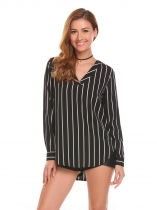 Black Women Long Sleeve V-neck Striped Pullover Shirt