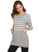 Cinza-claro Mulheres Casual O-Neck Long Sleeve Striped Pocket Thread Hem and Cuffs Pullover Malha de malha