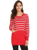 Red Women Casual O-Neck Long Sleeve Striped Pocket Thread Hem and Cuffs Pullover Knitted Sweater
