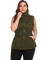 Women Plus Size Sleeveless Zip-up Cotton Twill Military Vest