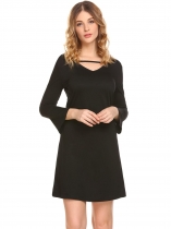 Black Women Casual V Neck Flare Sleeve A Line Mini Casual Dress