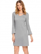 Gray Women Casual V Neck Flare Sleeve A Line Mini Casual Dress