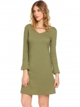 Army green Women Casual V Neck Flare Sleeve A Line Mini Casual Dress
