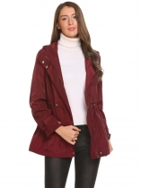 Wine red Women Hooded Long Sleeve Drawstring Slim Waist Zip Up Jacket