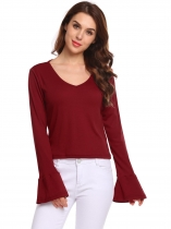 Wine red T shirt à manches longues