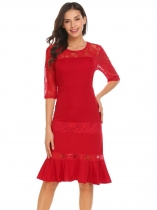 Red Women Casual O-Neck Medium Sleeve Lace Patchwork A-Line Ruffle Hem Sexy Dress