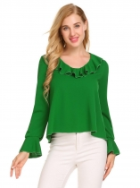 Green Women Casual O-Neck Long Sleeve Flare Cuffs Solid Ruffle Loose Blouse T-shirt Tops