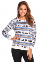 Blue O-Neck Long Sleeve Patchwork Fleece Casual Pullover Sweater
