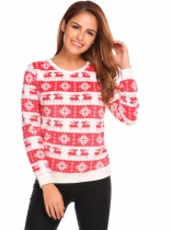 Red O-Neck Long Sleeve Patchwork Fleece Casual Pullover Sweater