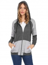 Dark gray Women Casual Drawstring Hooded Thread Hem and Cuffs Patchwork Zipper Pocket Hoodie Outwear