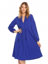 Royal Blue V-Neck Long Sleeve Loose A-Line Dress