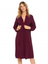 Wine red V-Neck Long Sleeve Loose A-Line Dress