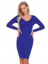 Royal Blue Femmes Fashion O cou à manches longues Solid Bodycon Slim Pencil Mini robe