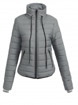 Grey Women Stand Neck Long Sleeve Waterproof Full Zipper Down Jacket Coat With Pocket