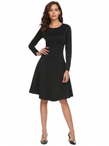 Black Stylish Round Neck Long Sleeve Solid Swing A Line Going Out Dress