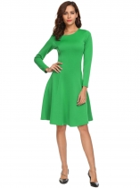 Green Stylish Round Neck Long Sleeve Solid Swing A Line Going Out Dress