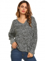 Black Long Sleeve V Neck Solid Knitted Loose Pullover Sweaters