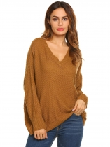 Brown Long Sleeve V Neck Solid Knitted Loose Pullover Sweaters