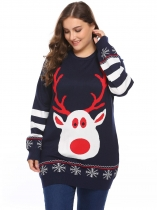 Navy blue Women O-Neck Long Sleeve Christmas Print Casual Pullover Sweater Plus