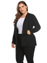 Black Women Shawl Lapel Open Front Solid Zipper Pocket Casual OL Blazer Plus Size
