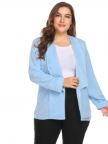 Blue Women Shawl Lapel Open Front Solid Zipper Pocket Casual OL Blazer Plus Size