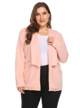 Pink Women Shawl Lapel Open Front Solid Zipper Pocket Casual OL Blazer Plus Size