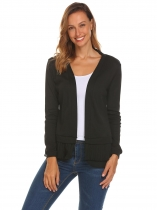 Black Women Casual V-Neck Long Sleeve Patchwork Front Open Ruffle Hem Sexy Cardigan
