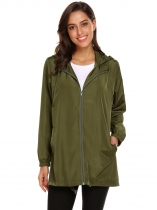 Army green Women Hooded Long Sleeve Lightweight Jacket