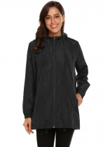 Black Women Hooded Long Sleeve Lightweight Jacket
