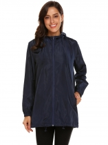 Navy blue Women Hooded Long Sleeve Lightweight Jacket