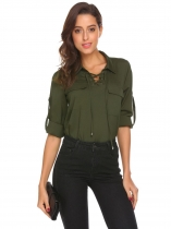 Army green Women Casual Crossing Straps V-Neck Long Sleeve Solid Pocket Button Sexy Shirt