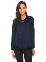 Navy blue Women Casual Crossing Straps V-Neck Long Sleeve Solid Pocket Button Sexy Shirt