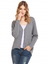 Cinza-claro Mulheres Casual V-Neck manga comprida Solid Button Asymmetrical Hem Sexy Cardigan Sweater