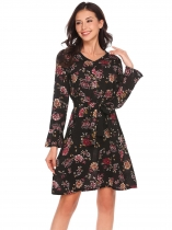 Mulheres Mulheres Casual V Neck Flare Long Sleeve Loose Floral Printed Dress With Belt