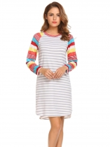 Pattern 1 Women Casual O-Neck Long Sleeve Striped Patchwork Asymmetrical Hem Sexy Dress